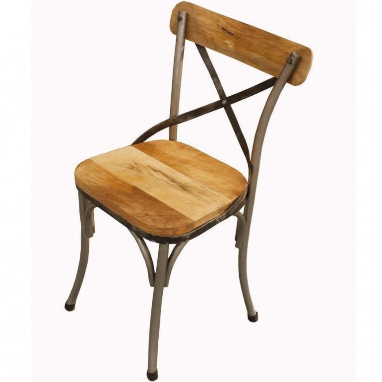 Sedia Industrial Chic in ferro e legno