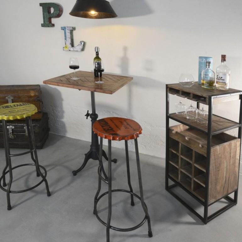 Tavolino Industrial legno + ferro Bistrot